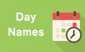Day Names Tamil Calendar