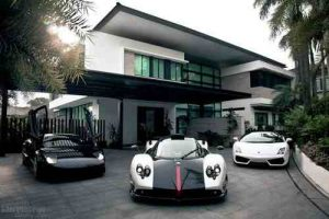 house with cars