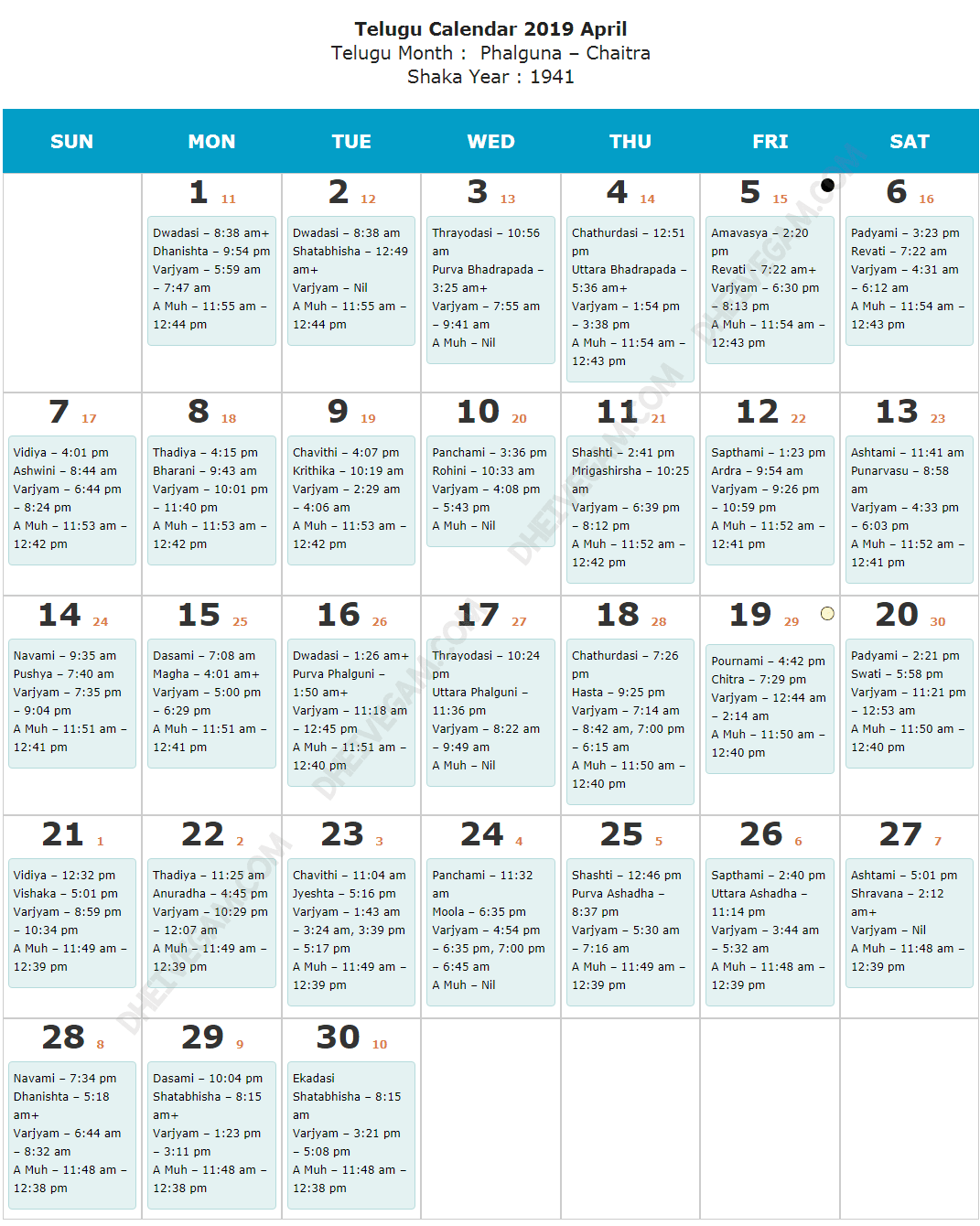 April 2019 Telugu calendar