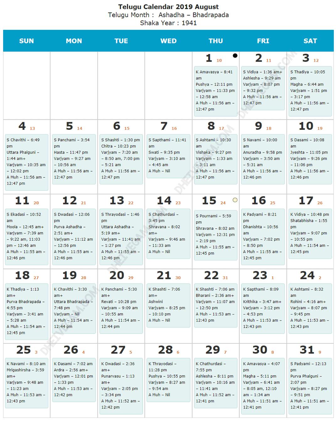 August 2019 Telugu calendar