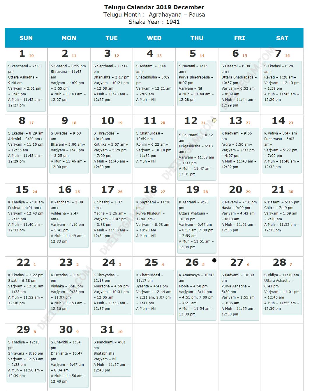 December 2019 Telugu calendar