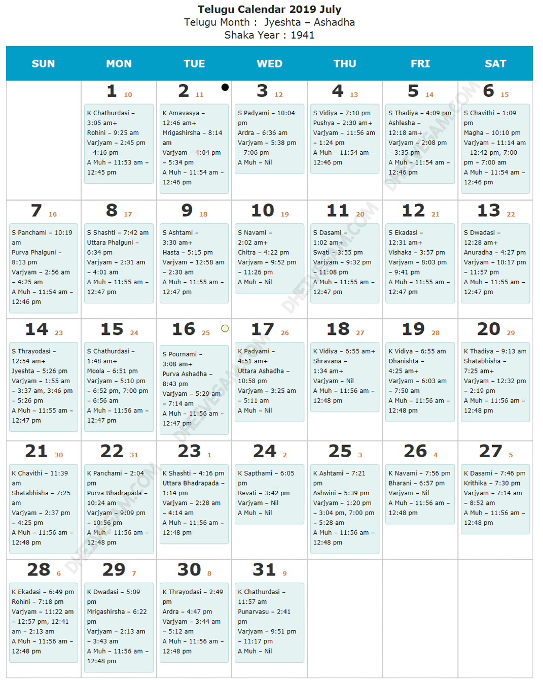July 2019 Telugu calendar