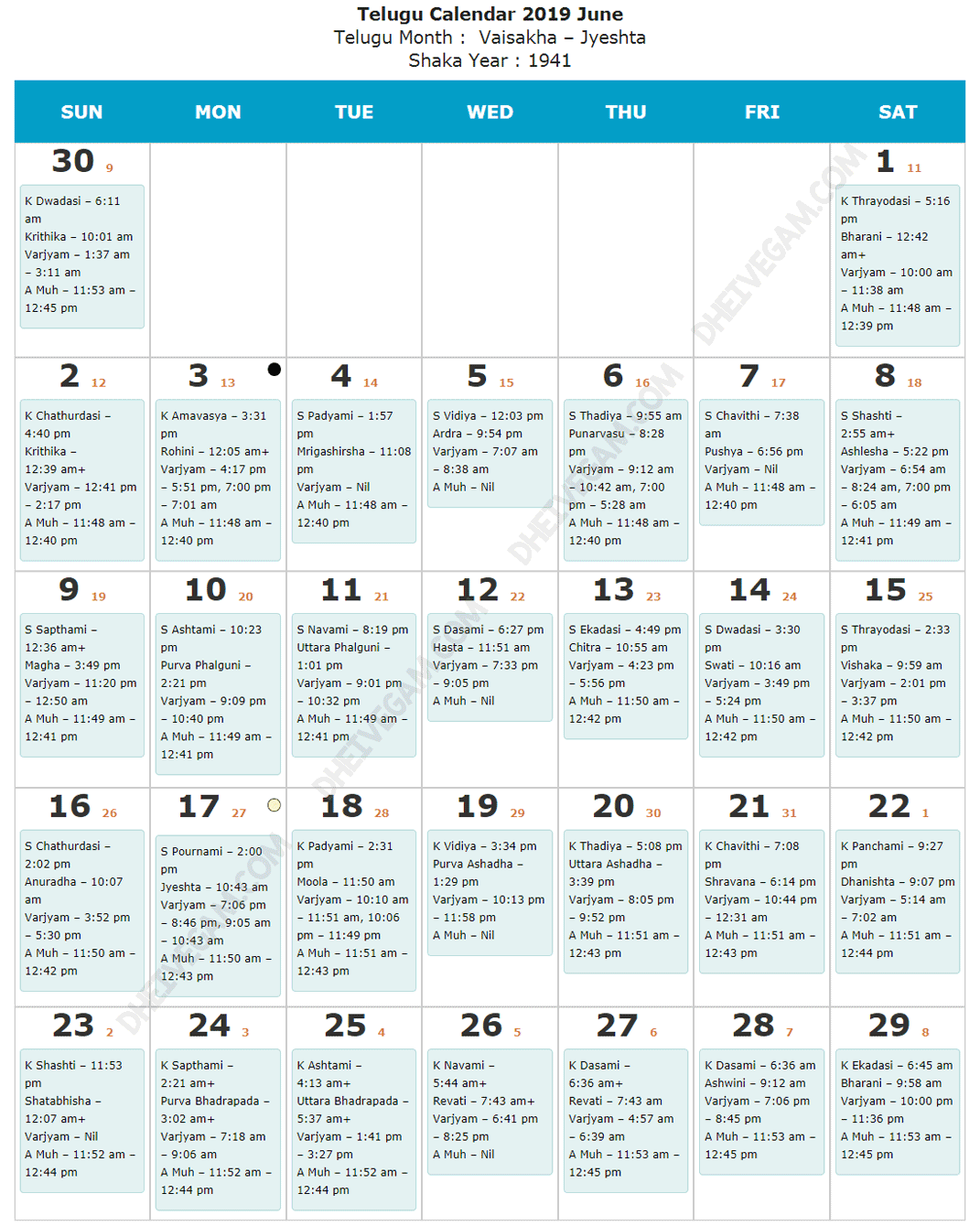 June 2019 Telugu calendar