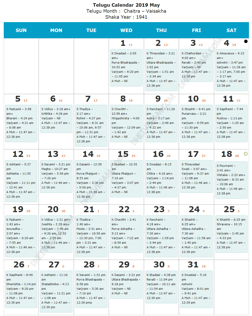 May 2019 Telugu calendar