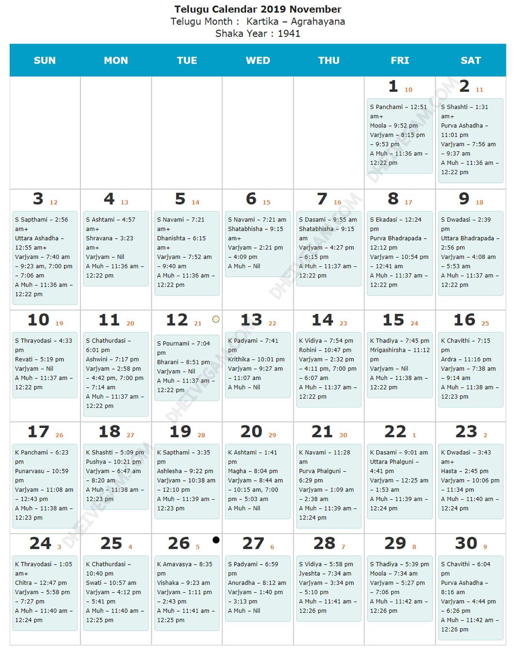 Novemer 2019 Telugu calendar
